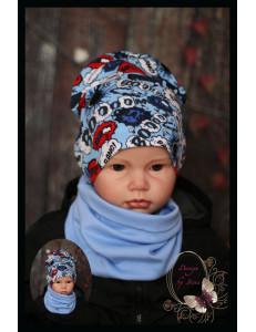 """Комплект голубой для мальчика (удлиненная шапка и снуд) """"Booom"""""""