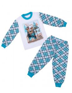 Пижама детская с длинным рукавом в бирюзовый ромб индеец