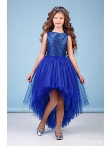 "Платье нарядное со шлейфом цвета электрик ""Аура"""